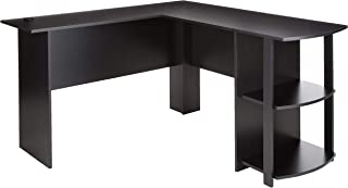 Ameriwood Home Dakota L-Shaped Desk with Bookshelves (Black Ebony Ash)