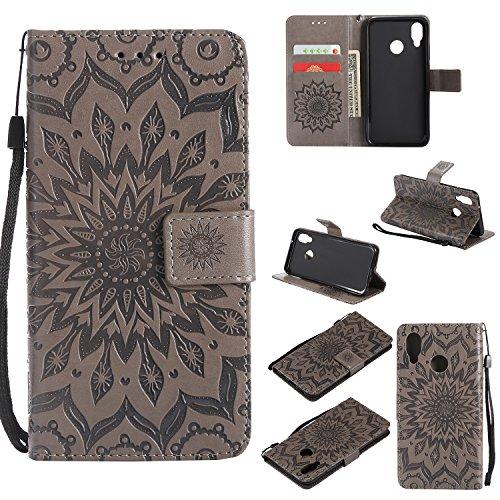 Handyhülle für Huawei P20 Lite/nova 3e Hülle Leder Schutzhülle Brieftasche mit Kartenfach Magnetisch Stoßfest Handyhülle Case für Huawei P20Lite / nova3e - XIKAT020727 Grau