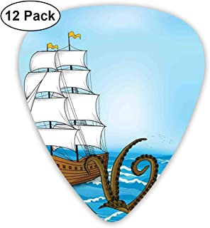 Guitar Picks - Abstract Art Colorful Designs,Old Sailing Ship In Waves And Kraken Adventure Journey Travel Graphic Image,Unique Guitar Gift,For Bass Electric & Acoustic Guitars-12 Pack