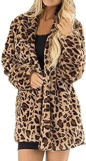 Fiaya Women's Winter Leopard Printed Faux Fur Long Sleeve Fluffy Soft Cardigan Jacket Overcoat Coat