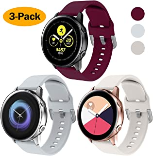 NANW 3-Pack Compatible with Samsung Galaxy Watch Active Bands/Active 2 Bands, Galaxy Watch 42mm Bands/Gear Sport Bands, 20mm Soft Waterproof Silicone Sport Watch Strap Replacement Wristbands