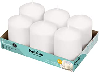 """Bolsius White Pillar Candles – 3x4"""" Unscented Candle Set of 6 – Dripless, Smokeless, and Clean Burning Household Dinner Ca..."""