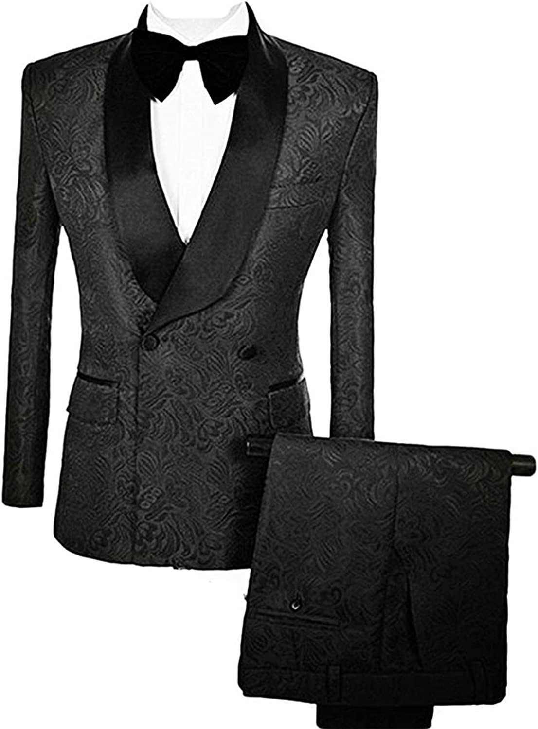 Frank Men's Suit Double Breasted Jacquard Groom Tuxedos Shawl Lapel Wedding Suit