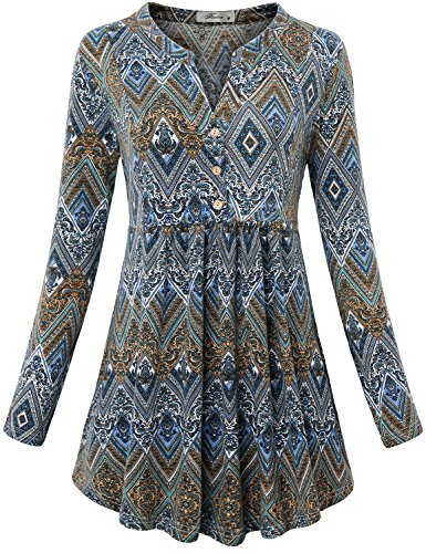 Flowy Shirt, Women's Notch V Neck Long Sleeve Knit Pullover Blouse Button Down Drape Slim Fit and Flared Flattering Tunic Dress A Line Trapeze Tops for Holiday Geometric Blue XXL