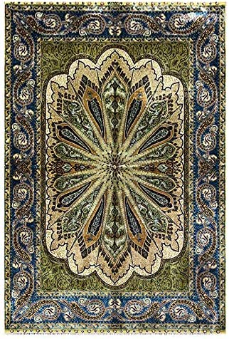 Green Carpet Hand We OFFer Oklahoma City Mall at cheap prices Knotted Turkish 3x4.5 Size Rugs Design Modern