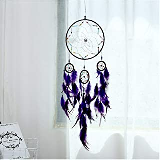 Jescrich Dream Catcher Traditional Handicrafts Dream Catcher Hanging Feathers Ornament with 5 Rings, Wall Hanging Gift (Purple)
