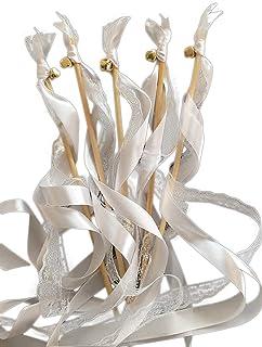 EinsSein 20x Wedding Wands Romantic Weiss Spalier Hochzeit Glücksstäbe Stäbe Spitze rund Kirche runde Holzstäbe Glöckchen Konfetti Standesamt Holz