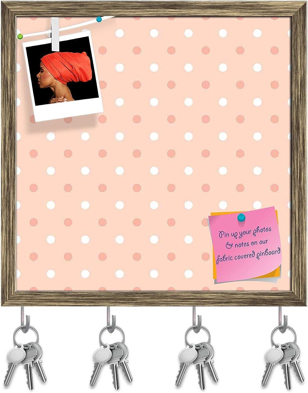 Artzfolio Pink Polka Dots Key Holder Hooks   Notice Pin Board   Antique golden Frame 20 X 20Inch