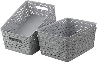 Kiddream Plastic Woven Rattan Storage Basket Bin Set of 4, Grey