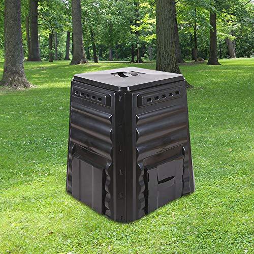 SKYLANTERN Composteur de Jardin 220L Noir Polyéthylène - Bac à Composte Noir de Jardin, Poubelle à Compost HDPE - Composteur de Jardin pour déchets écologiques