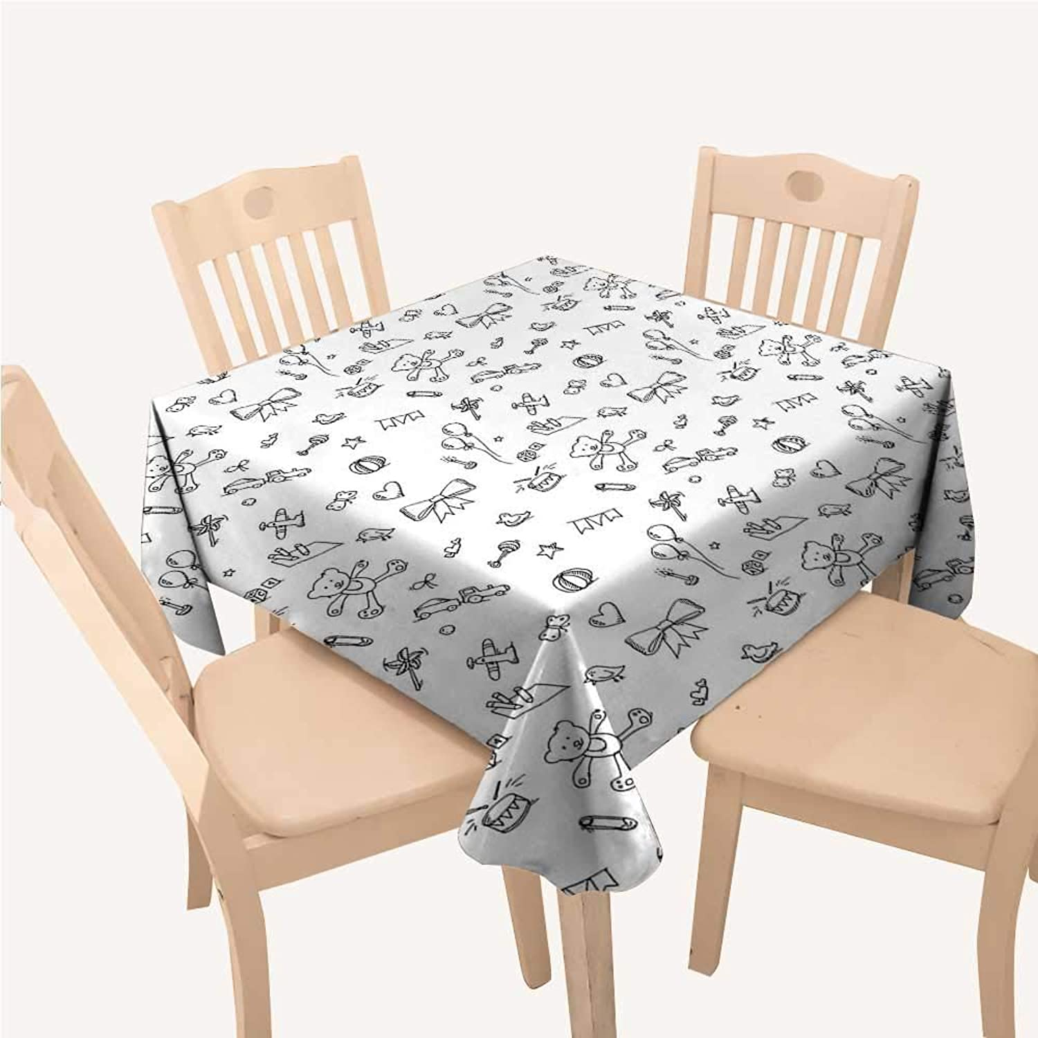 WilliamsDecor Kids Dinning Table Covers Cute Baby Icons Doodle Style Various Toy Figures Newborn Toddler Scribble CollectionBlack White Square Tablecloth W60 xL60 inch