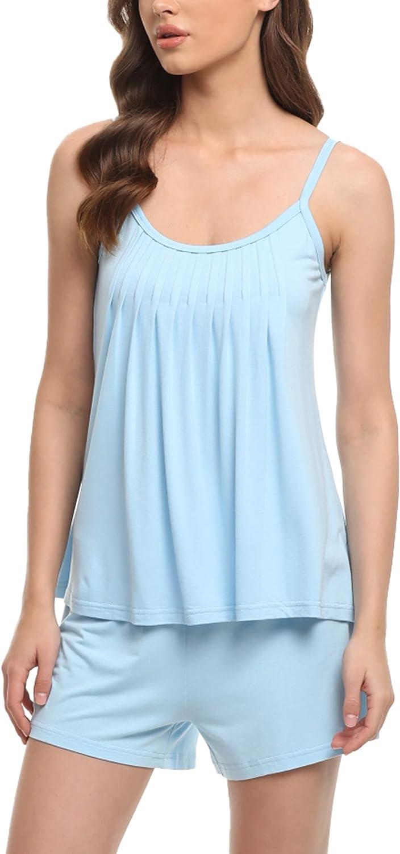 YYAWomen's Shorts Pajama Set Cami Top with Shorts sleepwear Sets Comfy Pleated Pjs S-XXL