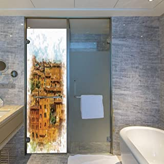C COABALLA The Visual Effect of Textured Glass and Stained Glass,Tuscan Decor,is Good for Long Year Under The Sunshine,Faded Photo of Historical Italian Town with Old,24''x78''