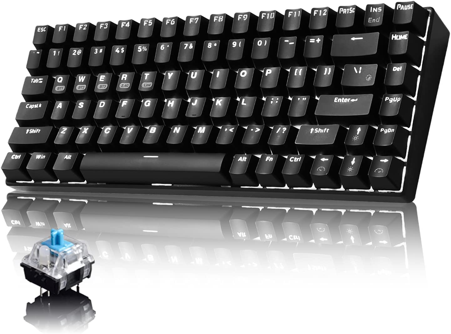 Mechanical Gaming Keyboard,Wthie LED Backlit Wired Keyboard with Blue Switches Type-C USB Receiver for Windows Gaming PC (84 Keys,Black)