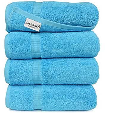 SALBAKOS Luxury Hotel & Spa Turkish Cotton 4-Piece Eco-Friendly Bath Towel Set 27 x 54 Inch, Aqua