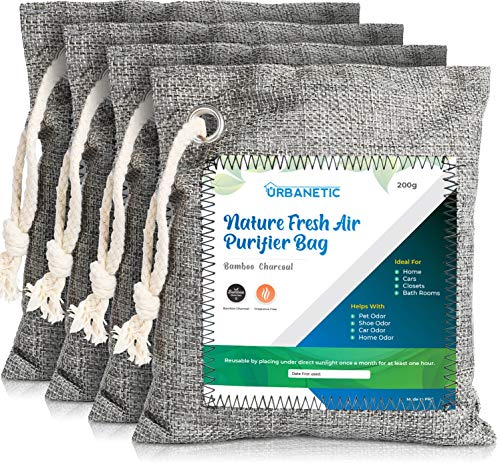 Activated Charcoal Air Purifying Bag - Nature Fresh Bamboo Air Purifier Bags, Odor Eliminators For Home, Closet Odor Absorber, Car Air Freshener, Deodorizer For Rooms Absorbers 4 X 200g