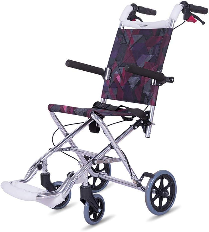 HIGHKAS Silla de Ruedas Plegable Ultraligera, con Asas Altas y Bolsa de Mano Silla de Ruedas portátil para Ancianos, discapacitados