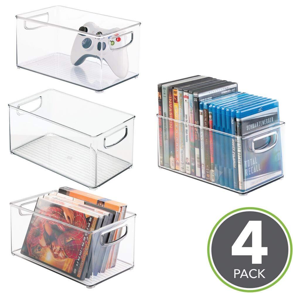 mDesign Cajas de almacenaje para CDs – Pack de 4 archivadores apilables para DVD, CDs o videojuegos – Porta CD transparente con asas: Amazon.es: Hogar