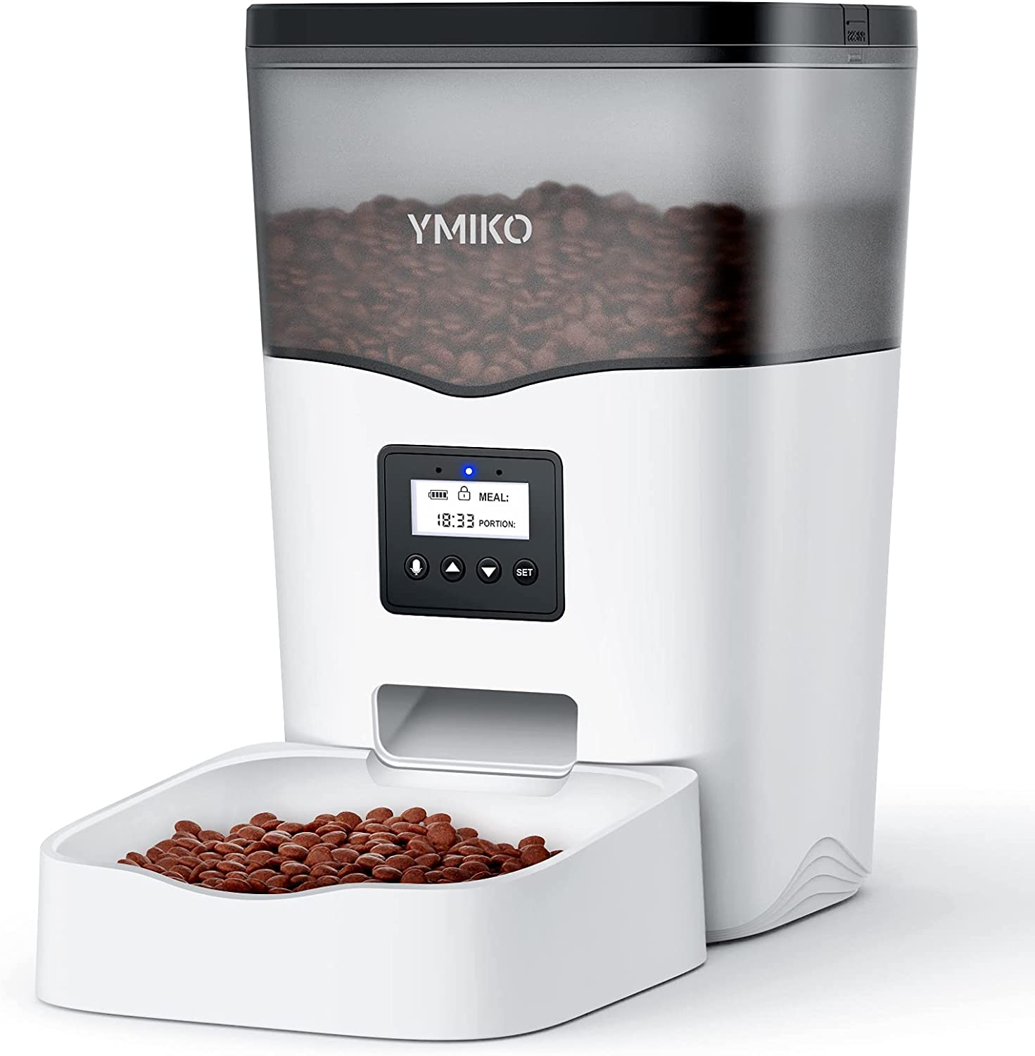 Ymiko Automatic Cat Feeder, Cat Food Dispenser with Voice Recorder, Timed Small Pet Feeder with Programmable Timer, 1-4 Meals Per Day (3L)