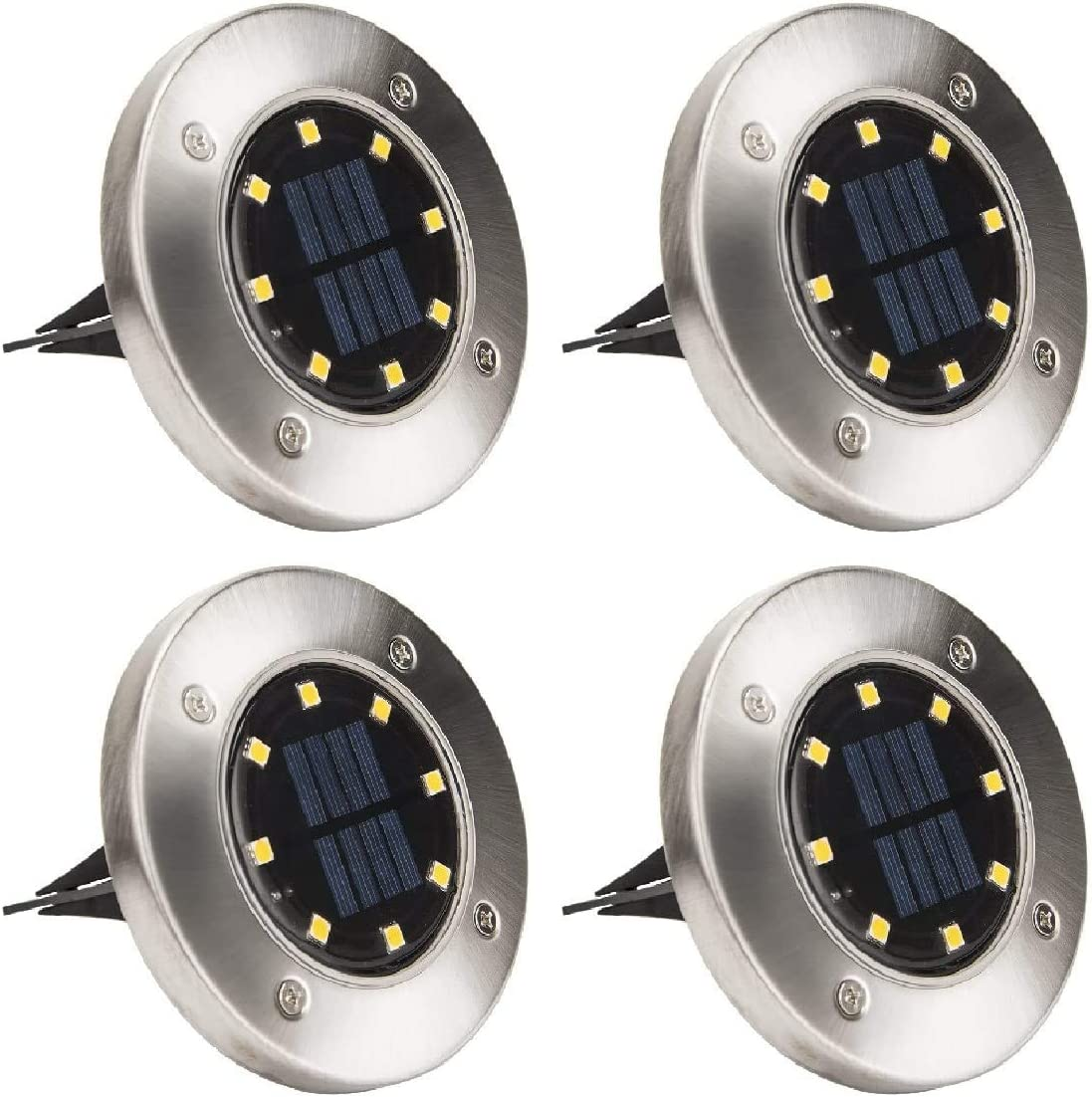 Hasako Solar Ground Lights Recommended 8 Warm LED Light safety Outdoor Disk