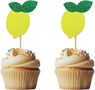 Morndew 24 PCS Lemon Fruit Cupcake Toppers for Baby Shower Lemonade Birthday Party Wedding Party Decorations