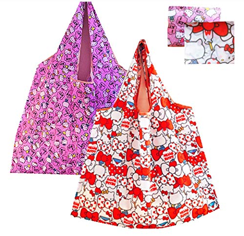 Kerrs Choice Lightweight Portable Grocery Bag Large Capacity Shopping Bag Durable Reusable Tote Bag Travel Accessories -- Hello Kitty