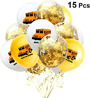 Amosfun 15pcs Back to School Balloons Set School Bus Latex Balloons Golden Confetti Balloon Happy First Day of School Sign for Welcome School Party Supplies 12Inch