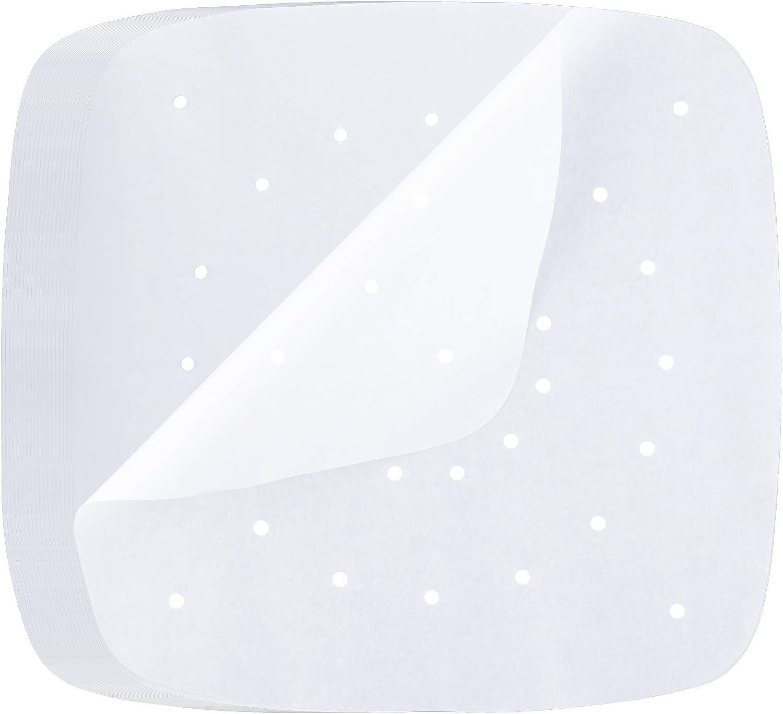 LUTER 120 Piezas De Papel De Pergamino Para Freidora De Aire De 23 CM Papel De Pergamino Perforado Blanco Papel De Vaporizador Cuadrado Para Freidora De Aire Cesta De Vapor