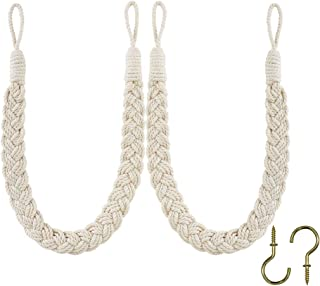 Home Queen Hand Braided Curtain Tie Back, Buckle Holdback Drapery Curtain Tiebacks, 2 Rope Cotton Belt Curtain Tie with 2 Metal Hooks, Off White