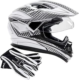 Dual Sport Helmet Combo w/Gloves - Off Road Motocross UTV ATV Motorcycle Enduro - Silver, Black - Medium
