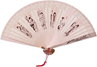 Decorative Fans Chinese Traditional Hollow Fan Wooden Hand Made Exquisite Folding Wedding Gift Bamboo Bone Performance Sandalwood Fan (Color : E)