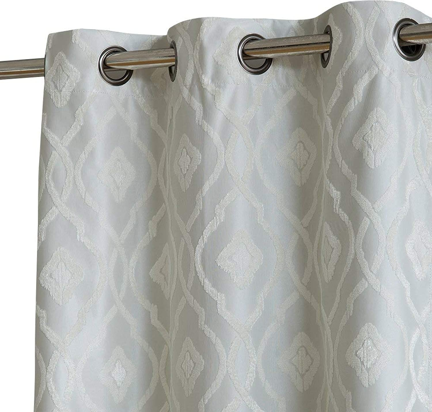 HLC.ME Trellis Flocked 100% Blackout Thermal Window Curtain Grommet Panels - Energy Efficient, Complete Darkness, Noise Reducing - Great for Living Rooms & Bedrooms - Set of 2 (37  W x 96  L, Ivory)