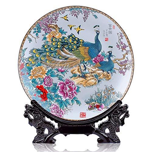 BEAUTYLE Escultura Decorativa,Pavo Real Plato de Porcelana de cerámica decoración artesanía, hogar Creativo salón de vinos Estudio de gabinete de Estudio de Oficina/Regalo de cumpleaños, uno