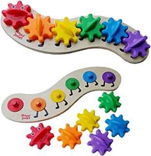 Sanwooden Interesting Toy Gear Toy Wooden Caterpillar Board 6 Color Interchangeable Gears DIY Intelligent Kids Toy Toys fo...