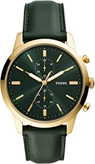 Fossil Mens Quartz Watch, Chronograph Display and Leather Strap FS5599
