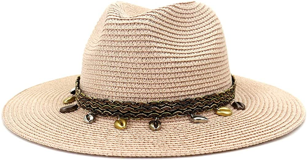 ADAHOP Women Panama Straw Hat Fedoras Beach Sun Hat Wide Brim Roll Up Sunhats for Women with Shell Band Decoration