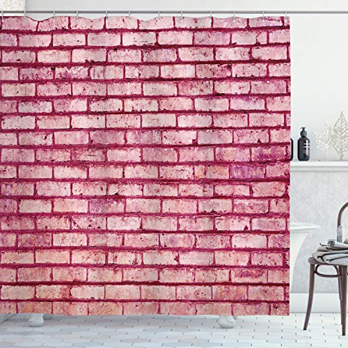 ABAKUHAUS Koraal Douchegordijn, Old Brick Wall Facade, stoffen badkamerdecoratieset met haakjes, 175 x 220 cm, roze Magenta