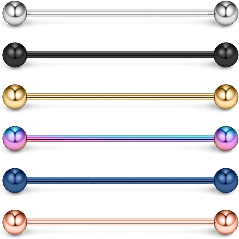 Ruifan 16 Gauge Industrial Barbell Cartilage Earring Body Piercing Jewelry 1 1/2 Inch(38mm)
