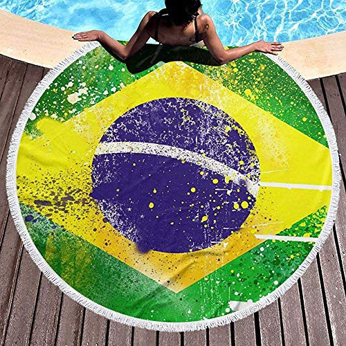 ALPHNJ Bandera de Brasil Retro Fresca Microfibra Suave con borlas Toalla de Playa Redonda Manta de Playa Redonda 59 Pulgadas