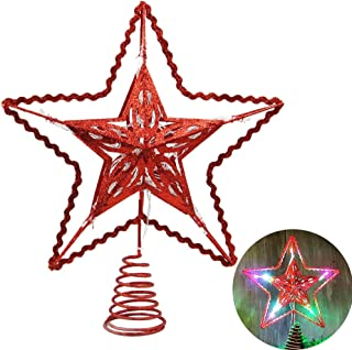 Blissun 12-Inch Red Star Treetop, 15 Multi-Color Light Christmas Tree Topper, Twinkle Star Treetop Christmas Decoration