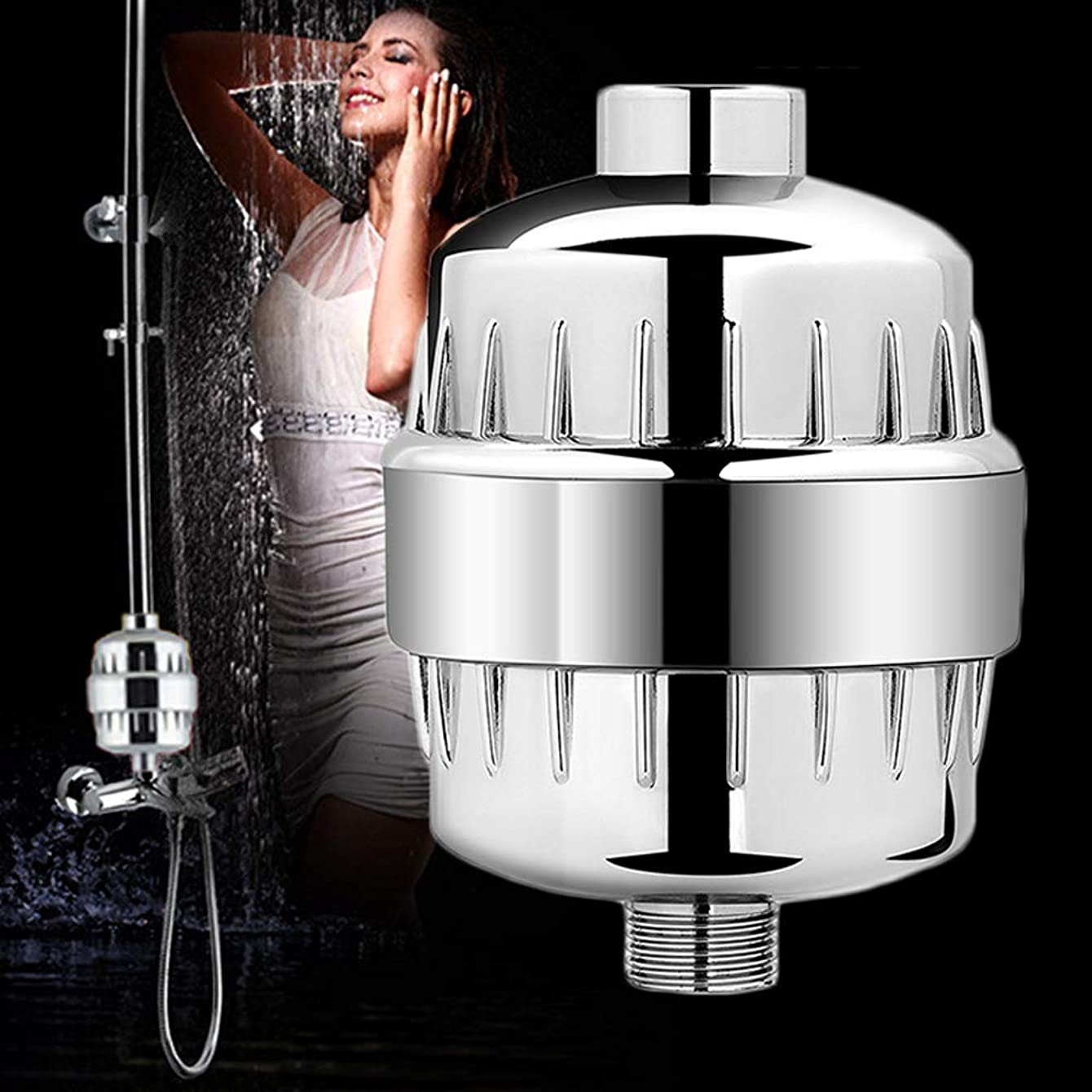 High Output Shower Fliter,Hard Water Softener,Filtered Shower Head with 2 Replaceable Filter Cartridges,Removes Chlorine Fluoride Heavy Metals & Other Sediments Reduces Dry Itchy Skin