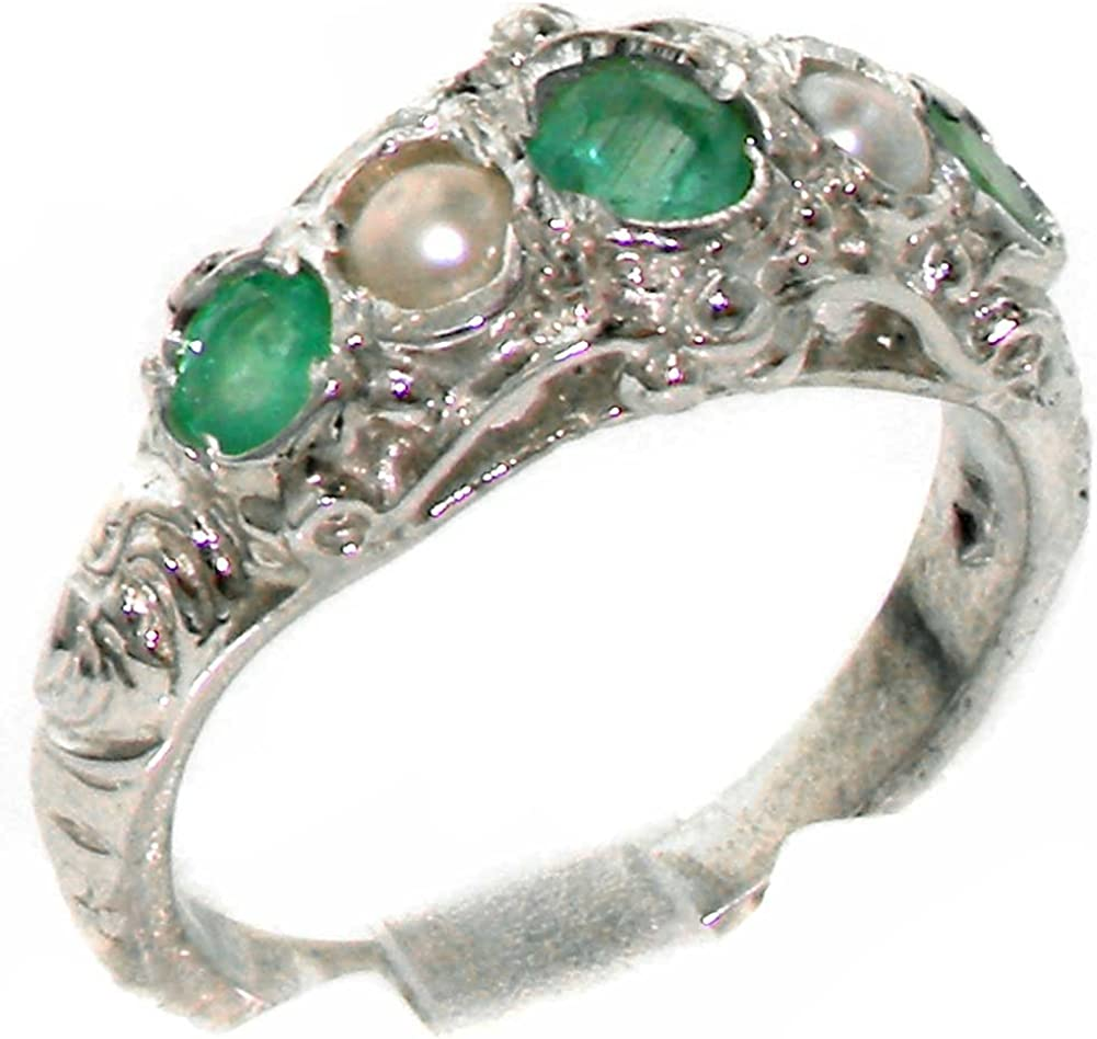 925 Sterling Silver Natural Emerald Pearl and Max 56% OFF Cultured Womens Sale price Ba