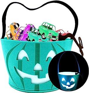 Light Up Teal Pumpkin Halloween Felt Trick or Treat Bucket, with 3 Blue LED Light, Halloween Party Favors, Halloween Snack...