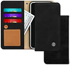 LG G6, G6 Plus Case [Free 9 gifts] TRIM LINE Flip Diary Cover with Slim Folding Wallet Design [Octopus Ver.] – Card Holder, Cash Slots, Kickstand, Hand Strap & Message Pad for G 6, G6+ (Aniline Black)