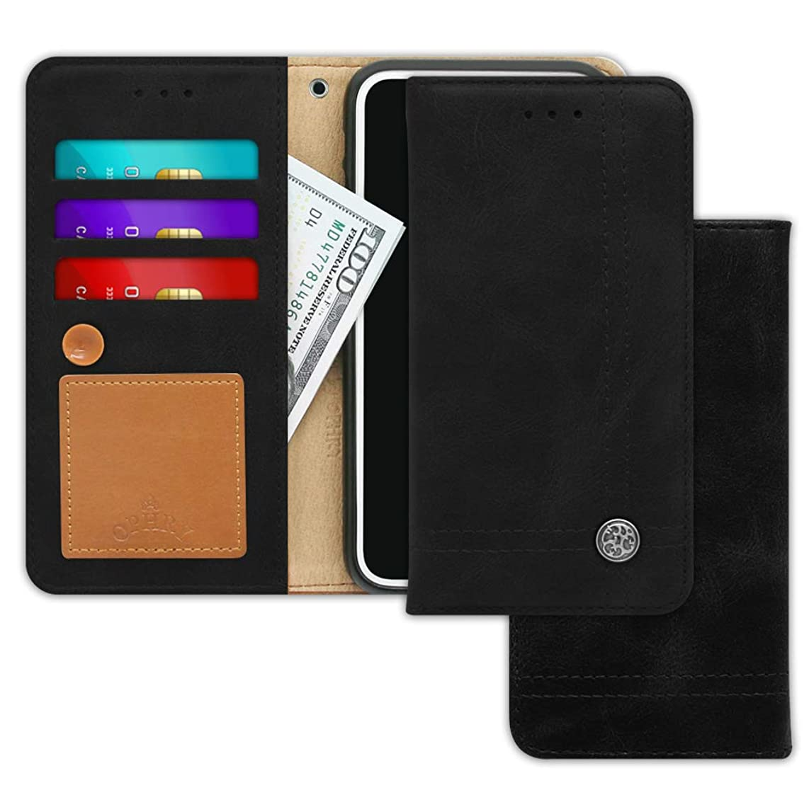 LG Q6, Q6 Alpha, Q6 Plus, G6 Mini Case [Free 9 Gifts] Trim LINE Flip Diary Cover with Slim Wallet Design [Octopus Ver.]– Card Holder, Cash Slots, Kickstand, Hand Strap & Message Pad - Aniline Black