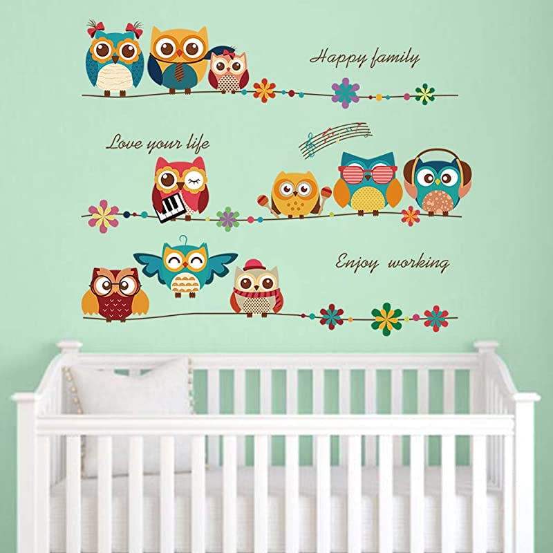 Decalmile Cartoon Owl Kids Wall Stickers Music Note Flowers Wall Decals Baby Nursery Childrens Bedroom Wall Decor