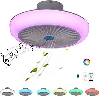 Design LED Plafonnier Ventilateur de Plafond avec Lumiere Haut Parleur Bluetooth RGB Couleur Ultra Silencieux Telecommande...