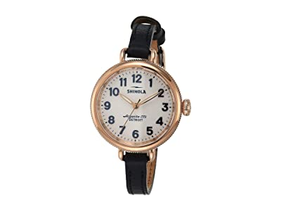 Shinola Detroit 34 mm Birdy 3H (White/Navy Leather) Watches