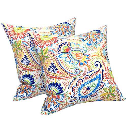 LVTXIII - Fundas de almohada para exteriores de 45,7 x 45,7 cm, diseño moderno de cachemira, funda de almohada cuadrada decorativa,...
