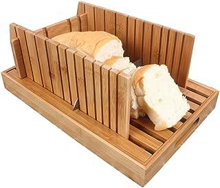 自家製パン用パンスライサー、Nature Bamboo Bread Slicer、自家製パン&ローフケーキ用に調整可能なクラムキャッチャートレイの厚さで折り畳み可能,Wood